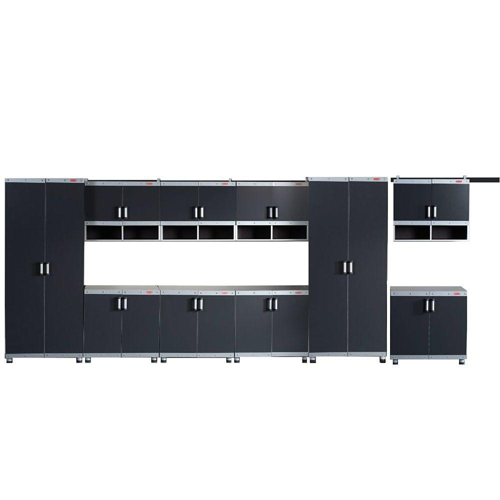 Rubbermaid FastTrack Garage Laminate Cabinet Set in Black/Silver (10-Piece)