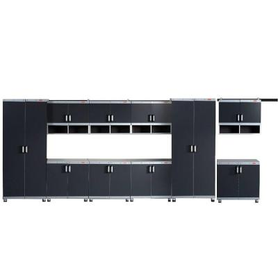 FastTrack Garage Laminate Cabinet Set in Black/Silver (10-Piece)