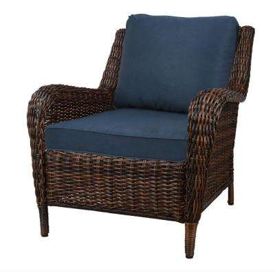 Cambridge Brown Stationary Wicker Outdoor Lounge Chair with Blue Cushions