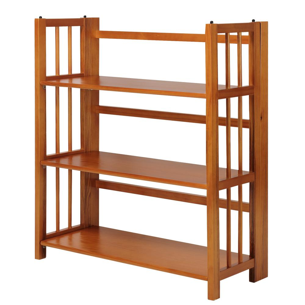 3-Shelf 35 in. Honey Oak Wide Folding Stackable Bookcase