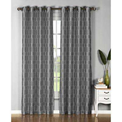 Semi-Opaque Wesley Faux Silk Extra Wide 96 in. L Grommet Curtain Panel Pair, Charcoal (Set of 2)