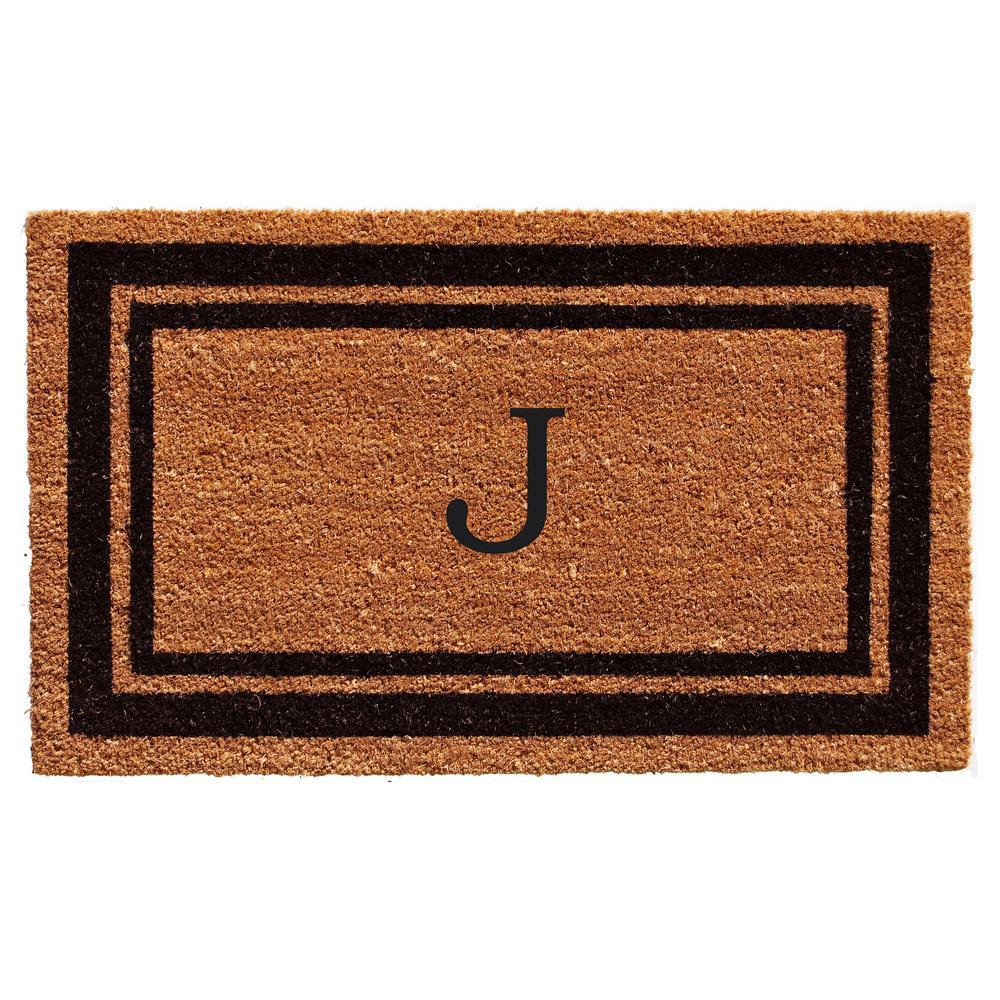 Black Border Door Mat 24 in. x 36 in. Monogram J Door Mat