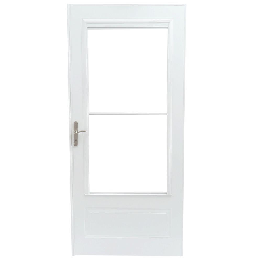 EMCO 36 in. x 80 in. 400 Series White Universal Self-Storing Aluminum Storm Door with Nickel Hardware