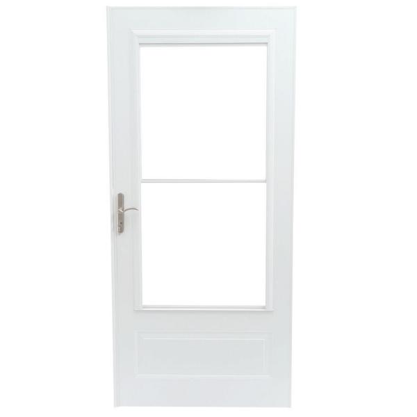 Emco 36 In X 80 In 400 Series White Universal Self Storing Aluminum Storm Door With Nickel Hardware E4sn36wh The Home Depot