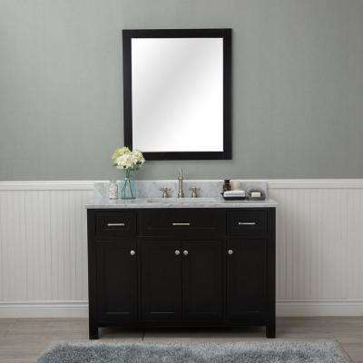Norwalk 48 in. W x 22 in. D Vanity in Espresso with Marble Vanity Top in White with White Basin and Mirror