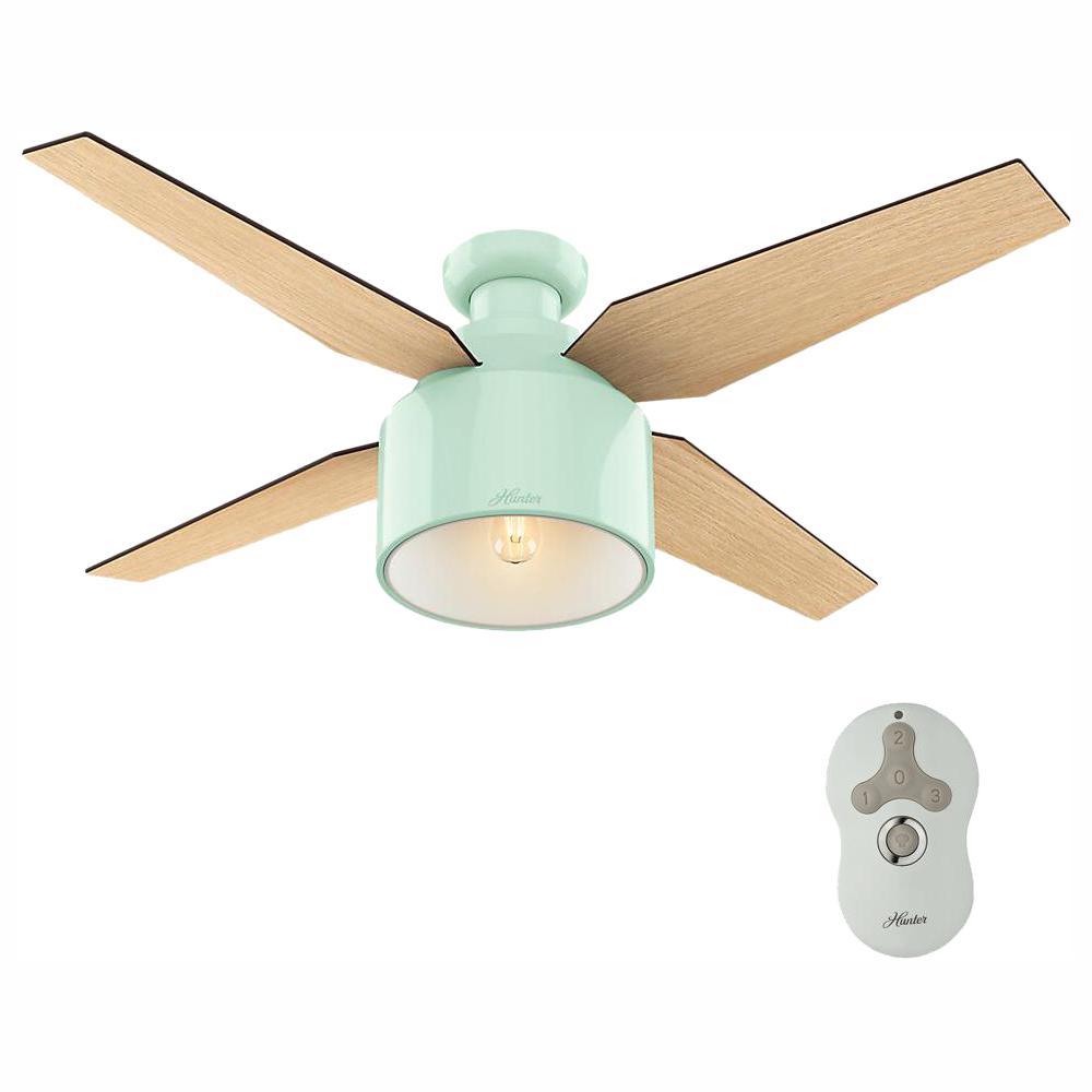 Hunter Cranbrook 52 in. LED Low Profile Indoor Mint Ceiling Fan
