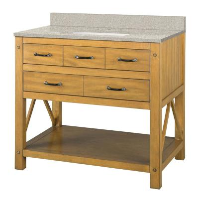 Avondale 37 in. W x 22 in. D Vanity in Weathered Pine with Engineered Marble Vanity Top in Sedona with White Sink
