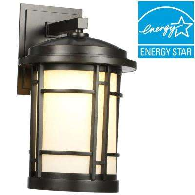 9 in. Burnished Bronze Outdoor LED Wall Sconce with White Opal Glass