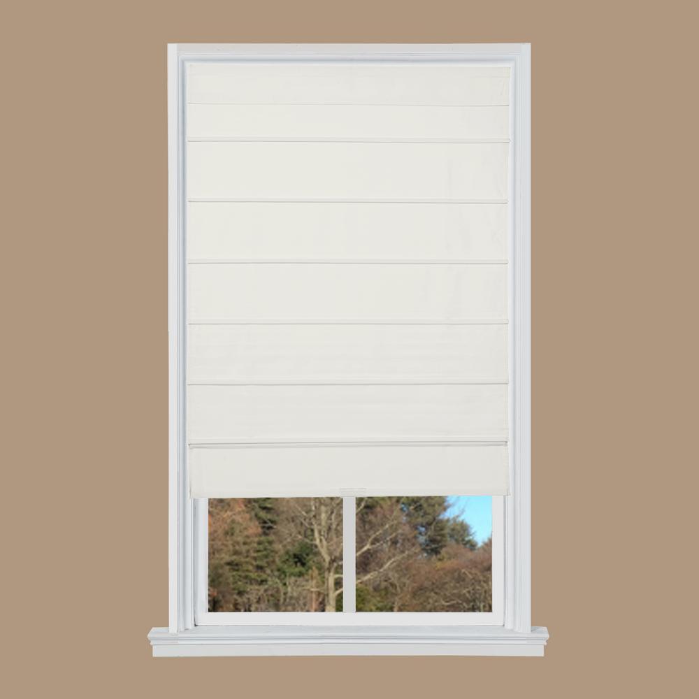 White Cotton Canvas Cordless Roman Shade - 35 in. W x 64 in. L
