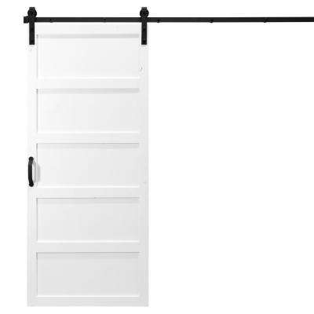36 in. x 84 in. 5-Panel White Alder Wood Interior Barn Door Slab with Sliding Door Hardware Kit
