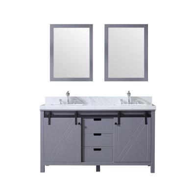 Marsyas 60 in. Double Bath Vanity in Dark Grey w/ White Carrera Marble Top w/ White Square Sinks and 24 in. Mirrors