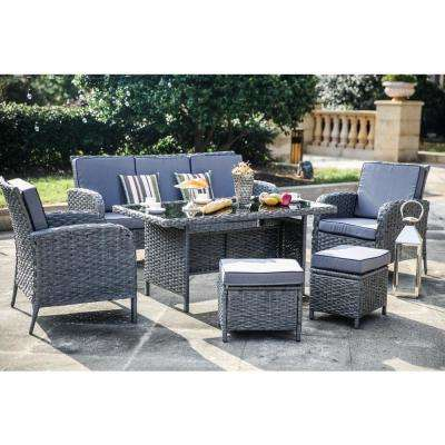 6-Piece Wicker Patio Conversation Seating Set with Blue Cushion