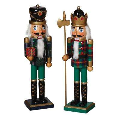 S/2 15.2inH Traditional Nutcrackers in Green and Black Outfits
