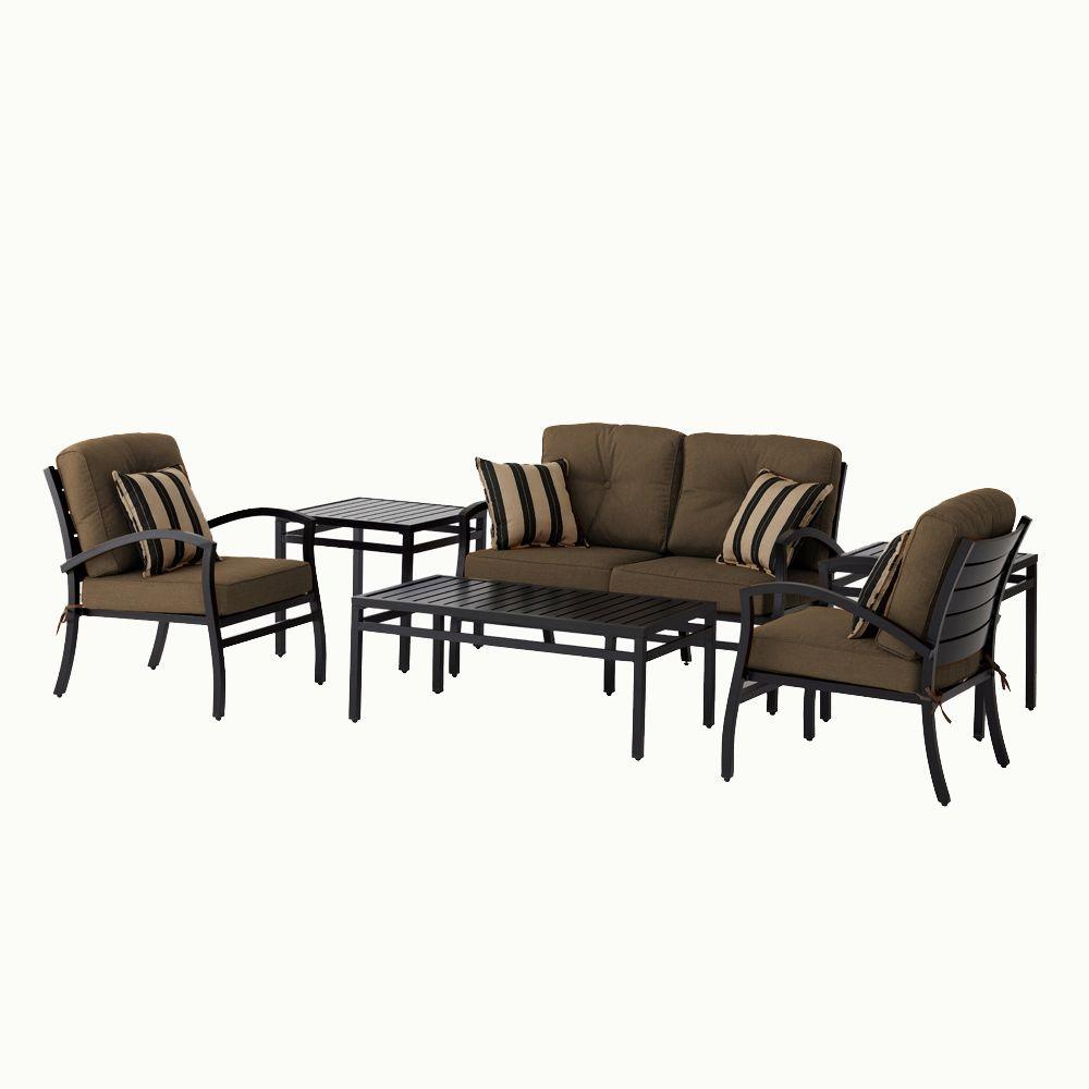 Hampton Bay Morgan Modern 6 Pc. Patio Seating Set with Sunbrella Canvas Teak Cushions-DISCONTINUED