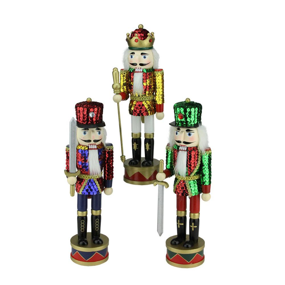 Northlight 14 in. Wooden Sequin Jacket Christmas Nutcracker Set of 3 ...