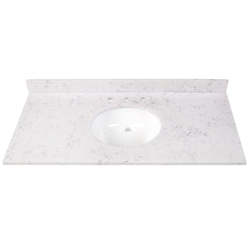 Home Decorators Collection 61 In Cultured Marble Vanity Top In White With White Sinks Cm6122r Wh The Home Depot