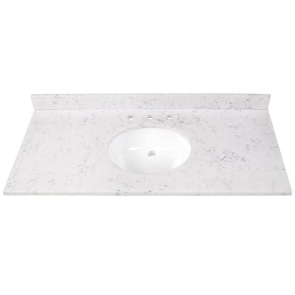 49 in. W x 22 in. D Stone Effects Vanity Top in Pulsar with White Sink