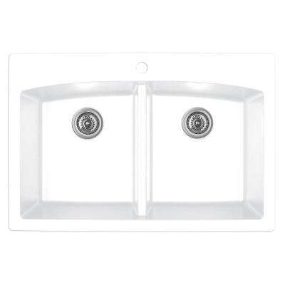 Drop-in Quartz Composite 33 in. Double Bowl Kitchen Sink in White