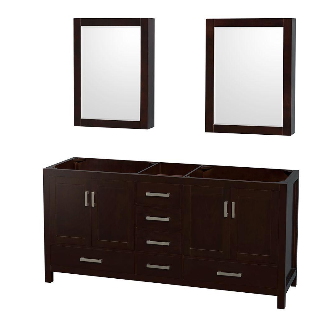 Sheffield 72 in. Double Vanity Cabinet with Mirror Medicine Cabinets in Espresso