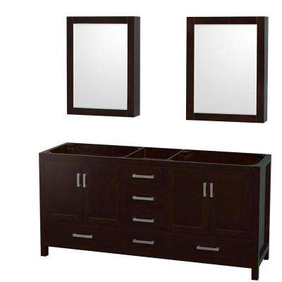 Sheffield 72 in. Double Vanity Cabinet with Mirror Medicine Cabinets in Espresso