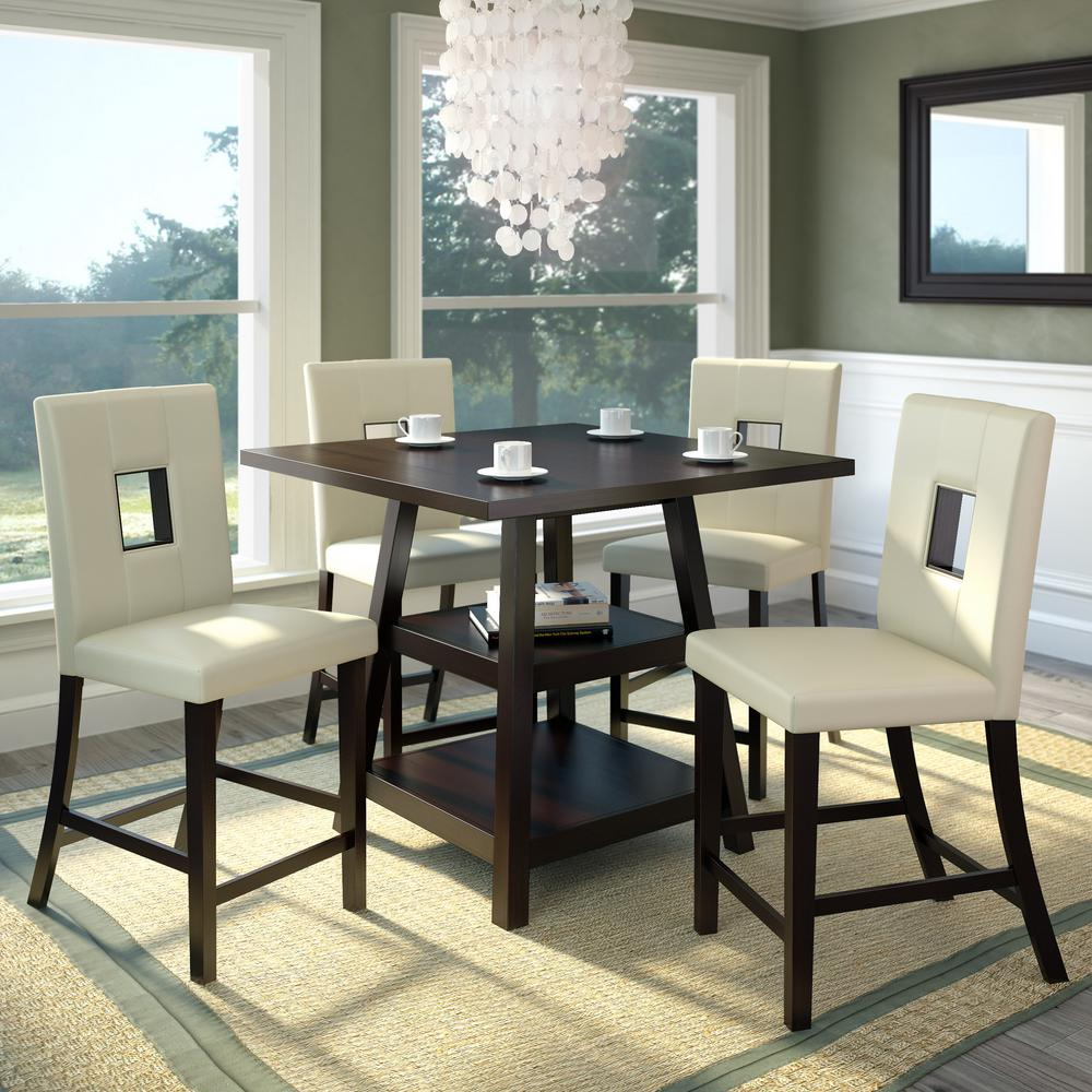 5pc Set Round Dinette Kitchen Table W 4 Microfiber: HomeSullivan 5-Piece Antique White And Cherry Dining Set