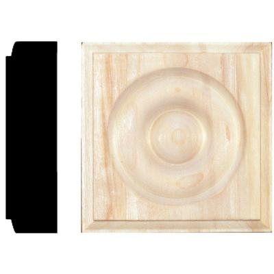 7/8 in. x 3-1/4 in. x 3-1/4 in. Hardwood Rosette Block