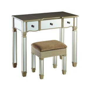 Brown and Silver 2-Piece Vanity Set with Lift Top Mirror and Hidden Storage