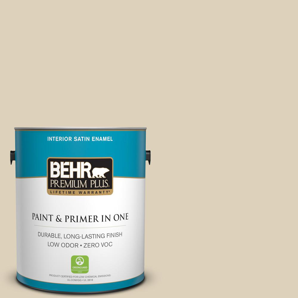 1 gal. #PPU4-12 Natural Almond Zero VOC Satin Enamel Interior Paint