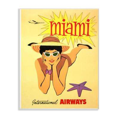 """10 in. x 15 in. """"Vintage Miami Beach Poster"""" by Piddix Printed Wood Wall Art"""