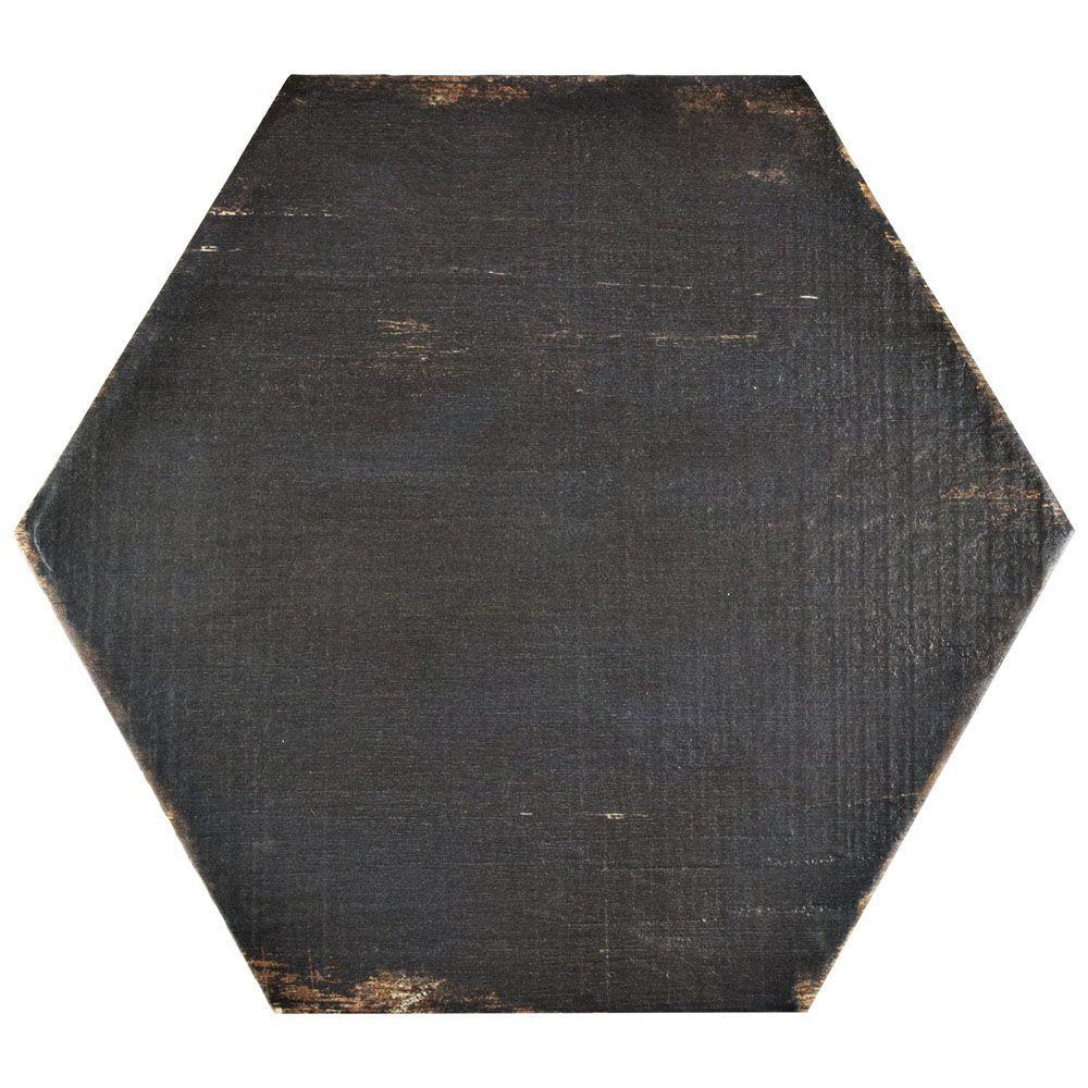 Merola tile retro hex negre 14 1 8 in x 16 1 4 in for 16 inch floor tiles