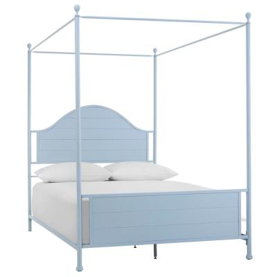 Corlyn Raindrop Blue Metal Queen Canopy Bed with Curved Headboard (62 in W. X 84.25 in H.)