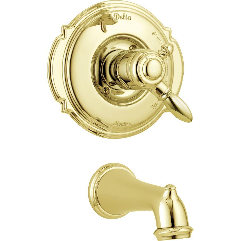 Delta Victorian 1-Handle Tub Filler Trim Kit Only in Polished Brass (Valve Not Included)