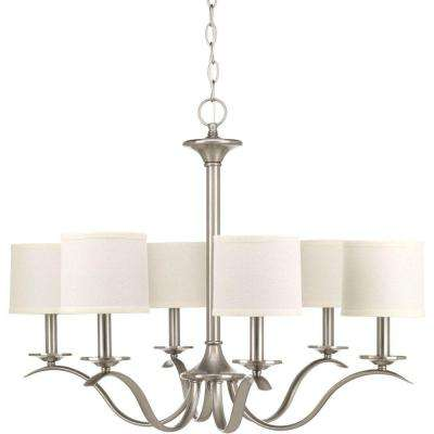 Inspire Collection 6-Light Brushed Nickel Chandelier with Shade