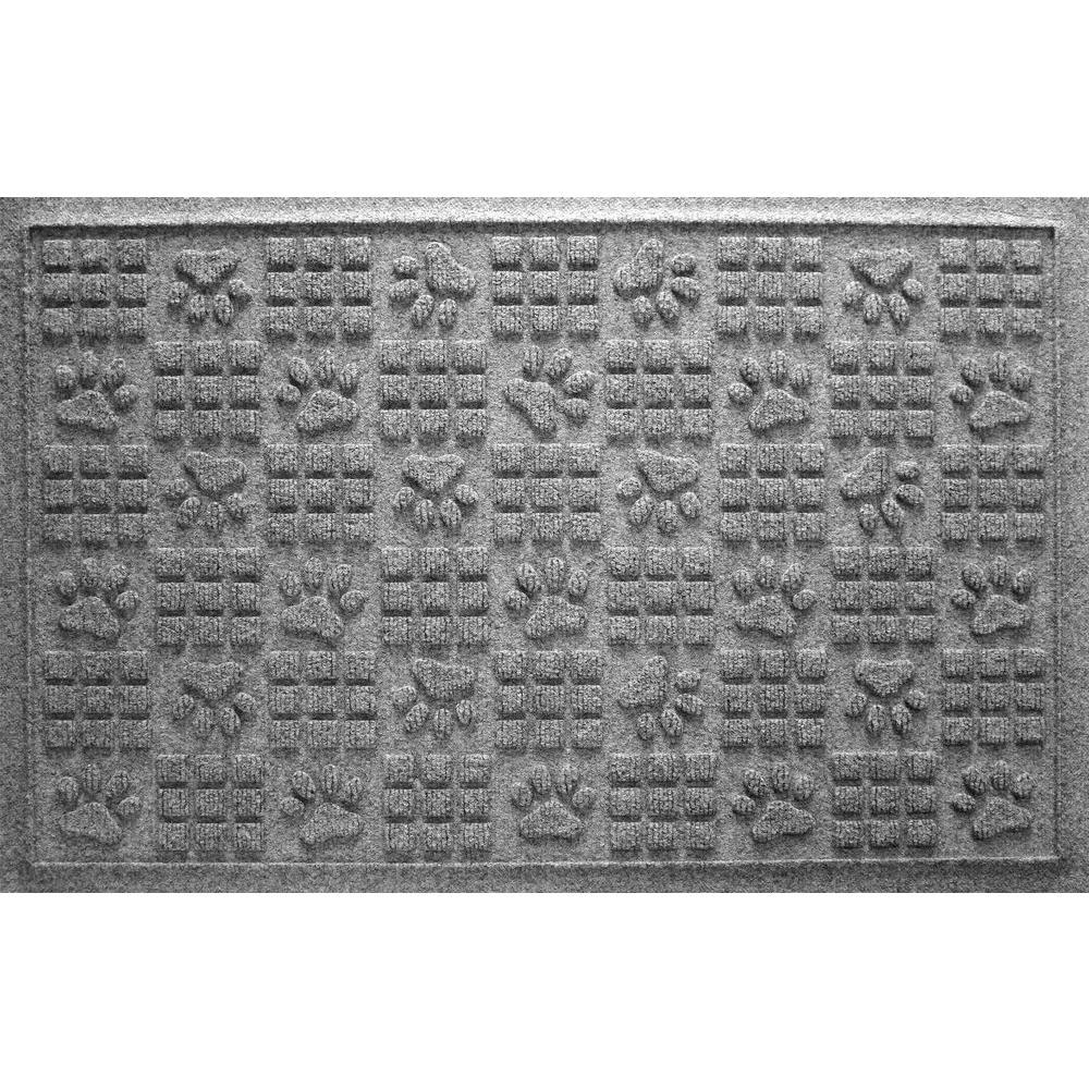 Medium Gray 24 in. x 36 in. Dog Paw Squares Pet Mat