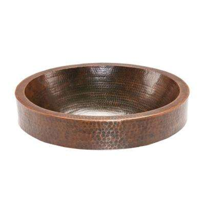 Oval Skirted Hammered Copper Vessel Sink in Oil Rubbed Bronze