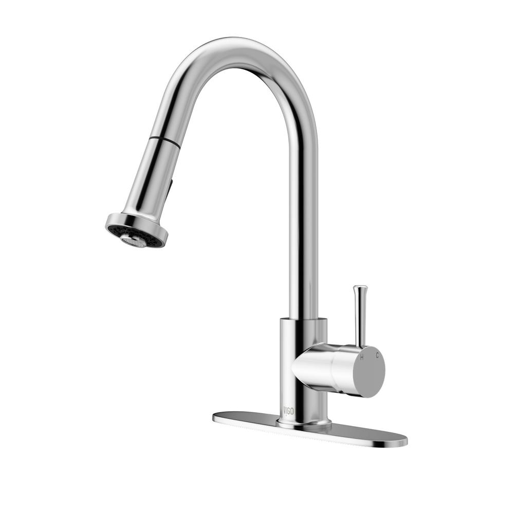 VIGO Harrison Single-Handle Pull-Down Sprayer Kitchen Faucet with ...