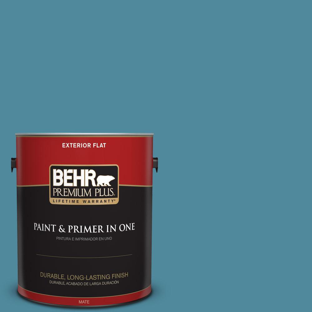 BEHR Premium Plus 1-gal. #S460-5 Blue Square Flat Exterior Paint