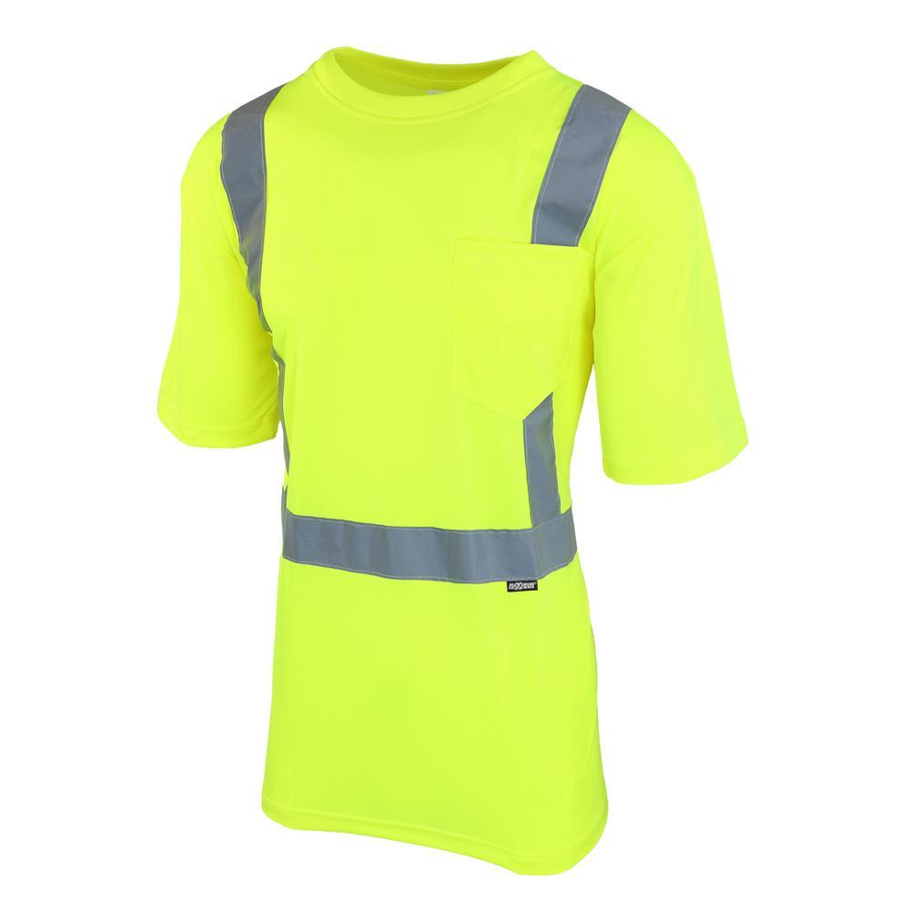 Unisex Large Hi-Visibility Yellow ANSI Class 2 Short-Sleeve Shirt