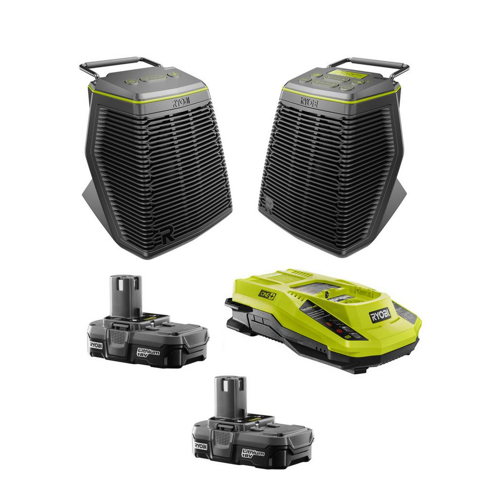 RYOBI 18-Volt ONE+ Score Speakers with Batteries and Charger