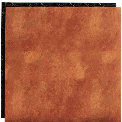 Terra Cotta 18.5 in. x 18.5 in. Interlocking Waterproof Vinyl Tile with Built-In Underlayment