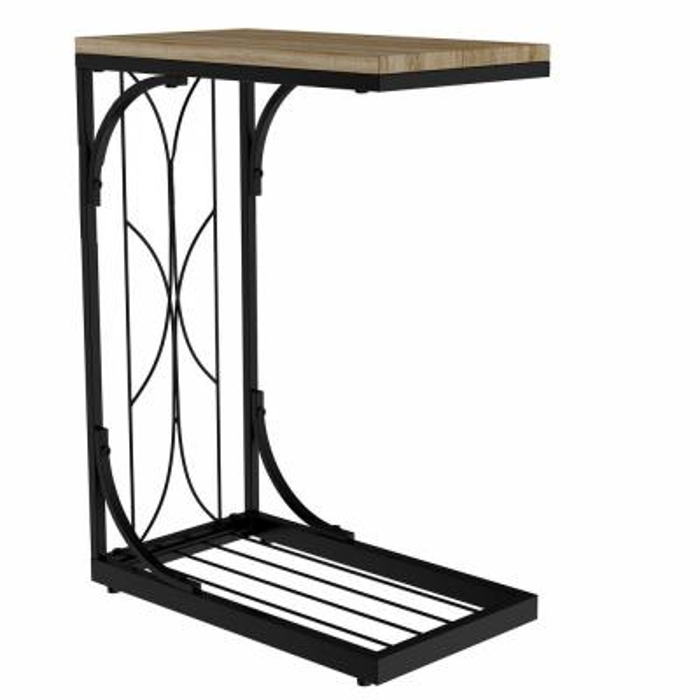Black Rustic Farmhouse Style C-Shaped Sofa Side Table