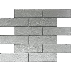 Cartagena Mettalic Subway 2 X 6 Silver 12 In 14 75 6mm Gl Mosaic Tile Vt046jc1255 The Home Depot