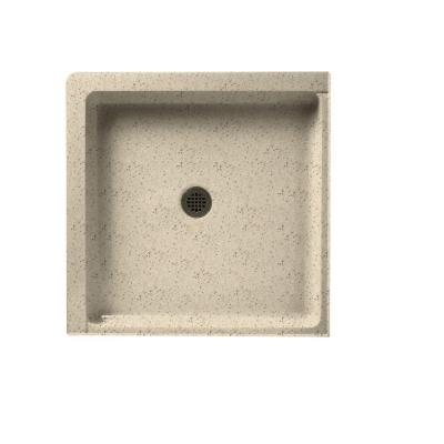 36 in. x 36 in. Solid Surface Double Threshold Center-Drain Shower Floor in Tahiti Desert