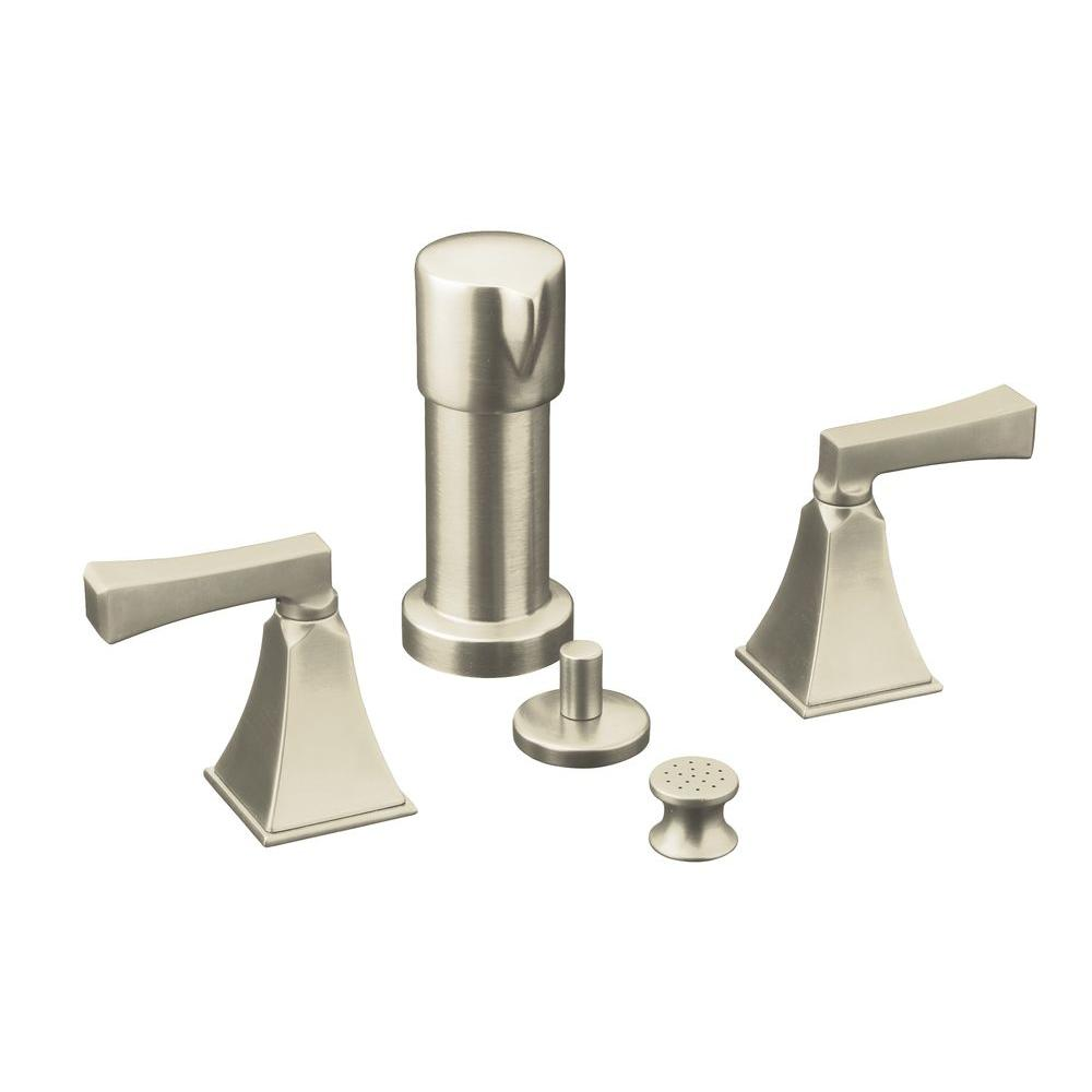 KOHLER Memoirs 2-Handle Bidet Faucet in Vibrant Brushed Nickel with Stately Design and Deco Lever Handles