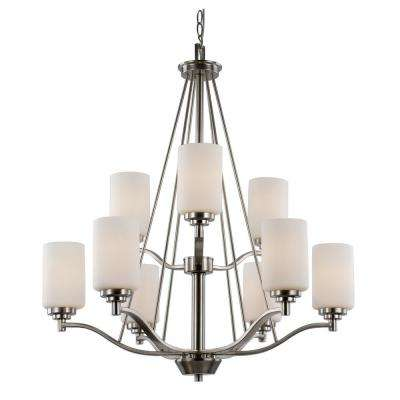 Mod Pod 9-Light Rubbed Oil Bronze Chandelier with Opal Shades