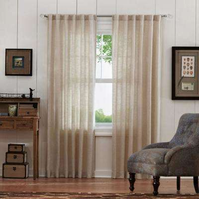 Faux Linen Light Filtering Window Panel in Taupe - 50 in. W x 95 in. L