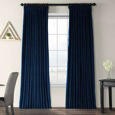 Blackout Signature Midnight Blue Doublewide Blackout Velvet Curtain - 100 in. W x 96 in. L (1 Panel)