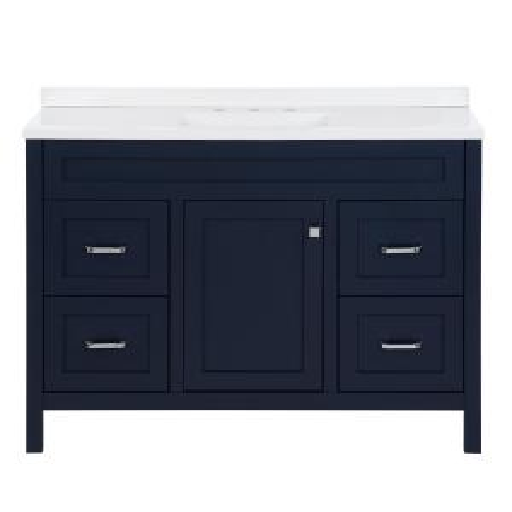 Maywell 48.5 in. W x 18.75 in. D x 37.69 in. H Vanity in Blue with White Cultured Marble Vanity Top and Sink