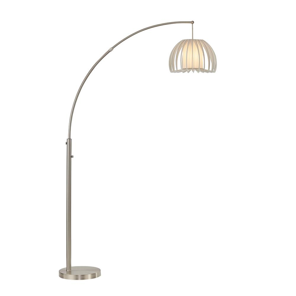 ARTIVA Zucca 83 in. One-Arched Chrome LED Floor Lamp with Dimmer