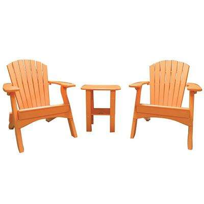 Tangerine 3-Piece Poly-Lumber Folding Patio Conversation Set